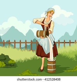 Concept of retro woman milkmaid pouring milk in canister. Vector illustration