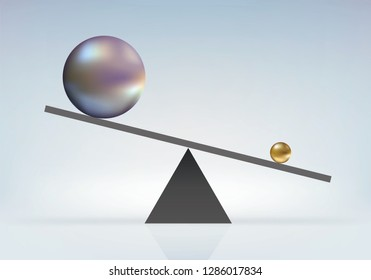 Concept of the reverse power struggle with a small ball that raises a big ball as if by magic