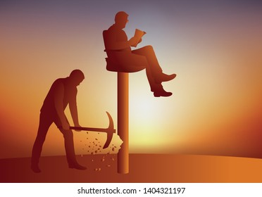 Concept of revolt with a leader seated on his throne who savor his power, while a man seeks to make him fall from his pedestal by destroying his base to remove him.