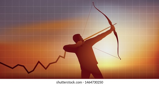 Concept of rising economic growth or increase in turnover, with as symbol, an archer who aims the summit to achieve his goal.