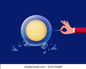 Concept of risk investment virtual digital money cryptocurrency. Hand holds a needle ready to pop Bitcoin in soap bubble. Cartoon Vector Illustration.