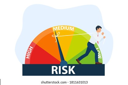 The concept of risk on the speedometer is high, medium, low. A businessman manages risk in business or life. Vector isolated background. Vector illustration in flat style.