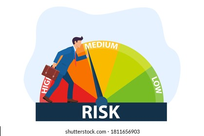The concept of risk on the speedometer is high, medium, low. A businessman manages risk in business or life. Vector illustration in flat style.