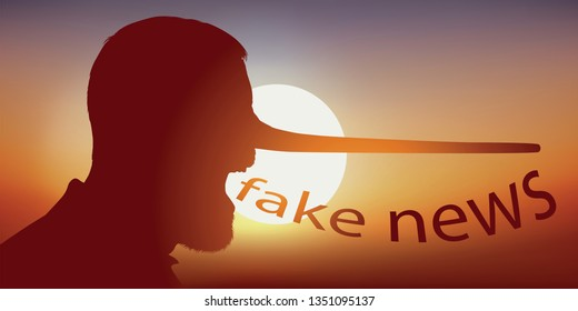 Concept of rumors on social networks, with a man seen in profile, who pronounces the word fake news by having the nose which extends like that of Pinocchio.