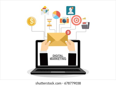 Concept of running email campaign, building audience, email advertising, direct digital marketing Human hand holding an envelope spreading information thought email distributing channel to customers