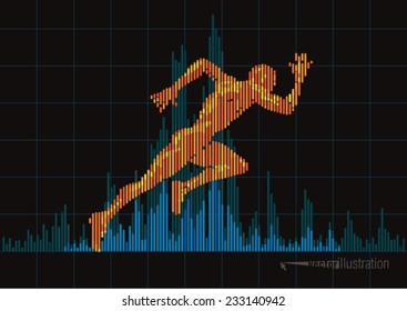 Concept of a running man and digital equalizer. Vector illustration