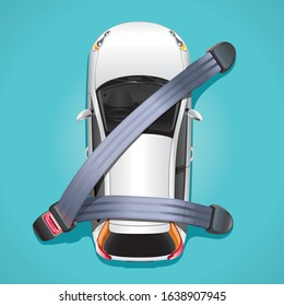 The concept of safety in a car. A white car on a blue background is attached seat belts and protected from crashes and accidents.