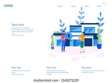 Concept Sale and rent of commercial, Business property investment. Buying, for web page, social media, documents, cards. Vector illustration Real estate agency, private real estate, contract,