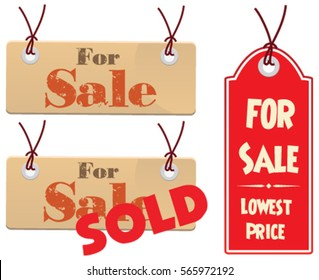 Concept of sale and sold in banner tag in vector isolated in white background.