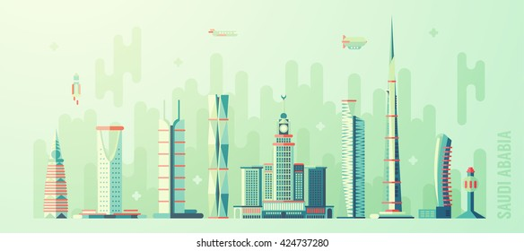 Concept Saudi Arabia skyline, with world's tallest building, vector illustration, flat style