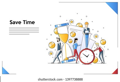 Concept save time, Money saving. Times is money. Business and management, financial investments in stock market future income growth. Flat line art style concept