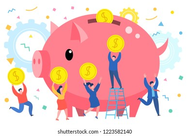 Concept of saving money. Mini business people bring money in a giant piggy bank. Flat design, vector illustration.