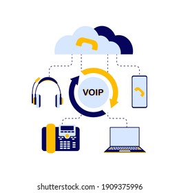 The concept of the scheme of the device of the VOI telephony system, includes a server, cloud storage, laptop or computer, telephone, headphones for the operator who receives calls. Flat vector illust