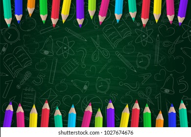 Concept of a school background with coloured pencils and cute doodles. Vector.