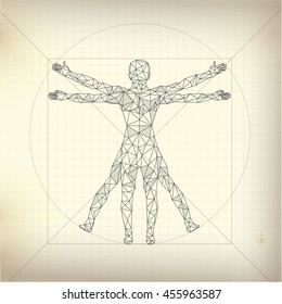 concept of scientific propotion, drawing of Leonardo Da Vinci Vitruvian Man about human anatomy