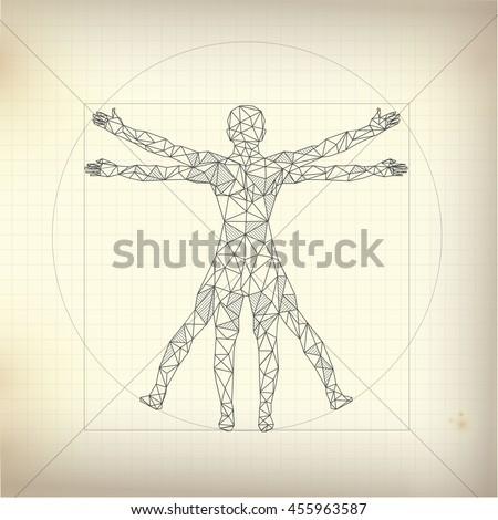 Concept Scientific Propotion Drawing Leonardo Da Stock Vector