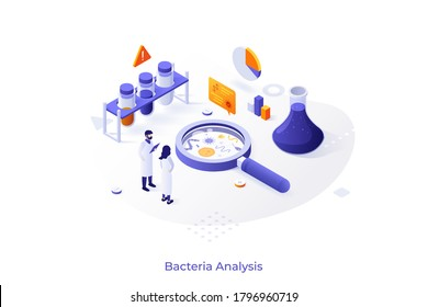 Concept with scientists and lab equipment. Microbiology service for bacteria analysis, bacteriological research laboratory. Isometric infographic design template. Vector illustration for website.