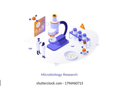 Concept with scientists, test tubes, microscope and Petri dish. Bacteriological analysis, microbiological or microscopy research lab. Modern isometric design template. Vector illustration.