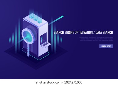 Concept of search engine optimisation and data search. Magnifying glass with server rack. Vector illustration in Isometric style