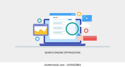 Concept of Search engine optimization, Search engine ranking, Search SERP, Seo, flat design banner illustration