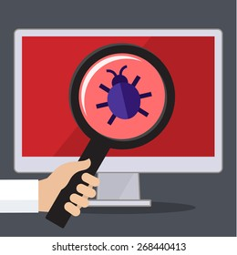 Concept of searching bugs and viruses in the programming code. Flat vector illustration