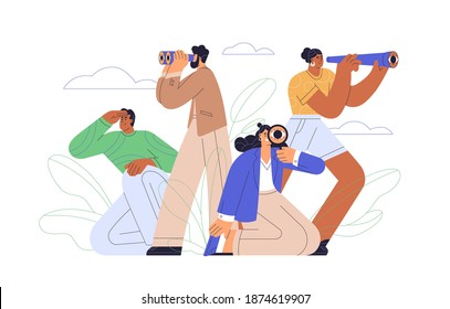 Concept of searching for opportunities, decisions, new business ideas or staff. People looking into future choosing direction of development. Colorful flat vector illustration isolated on white