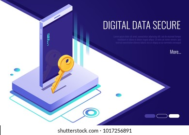 Concept of security network. personal access and protect phone.Digital data secure banner. 3d Isometric style