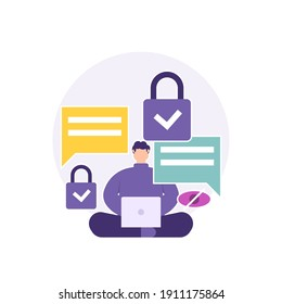 a concept of security and privacy, safe chat, protection from data theft, user protection. illustration of a man sitting cross-legged and using a laptop to chat or communicate. flat style. vector