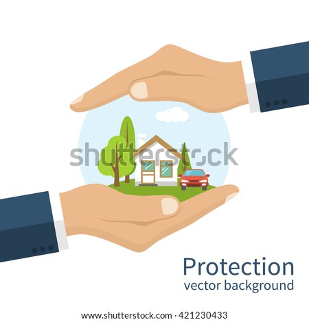 Car And Home Insurance >> Concept Security Property Insurance Home Car Arkistovektori