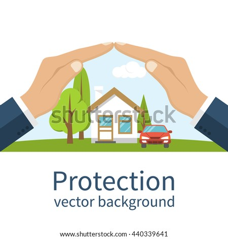 Car And Home Insurance >> Concept Security Property Insurance Home Car Stok Vektor Telifsiz