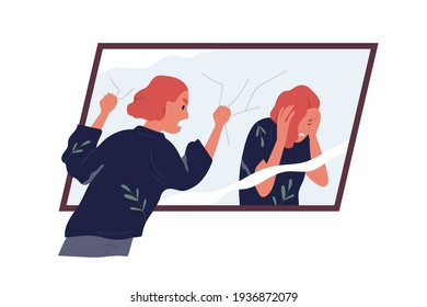 Concept of self-judgment, criticism, and mental problems. Inner critic blaming, shaming, and shouting at mirror reflection. Woman feeling guilty. Colored flat vector illustration isolated on white