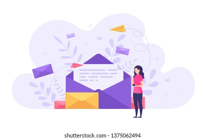 Concept sending and receiving mail messages, social network, chat. Business woman holding smartphone with new incoming email.