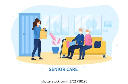 Concept of Senior Care during the Covid-19 pandemic with a young woman delivering a packet of groceries to an elderly couple sitting on a sofa in their living room, colored vector illustration