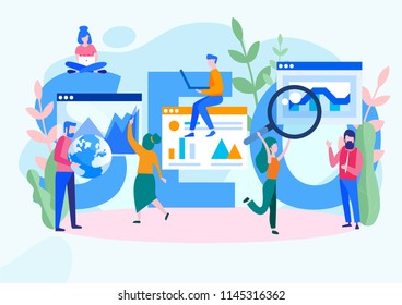 Concept SEO, market research Web site coding, internet search optimization  for web page, banner, presentation, social media, documents. Vector illustration search engine optimization, Web site coding