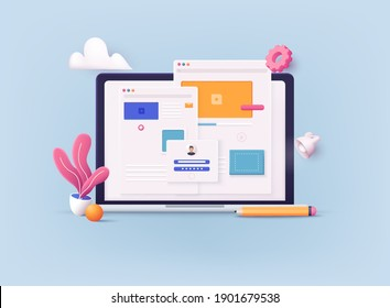 Concept of Seo Optimization for website and mobile website. Landing page template. 3D Vector Illustrations.