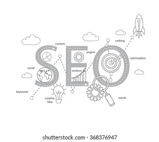 Concept of SEO word combined from modern thin line elements and icons which symbolized a success internet searching optimization process. Vector illustration.
