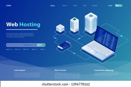 Concept of server hosting. Big data flow processing concept, cloud database. Hosting server isometric vector illustration. Isometric design concept of landing page suggesting  servers and hosting.