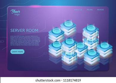Concept of server room rack. Web hosting and data center isometric vector illustration. Ultraviolet colors. Futuristic design