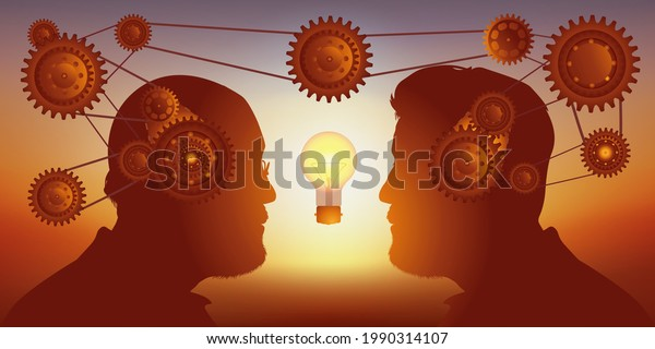 Concept of sharing skills to find a solution, with two men face to face who collaborate to find an idea.