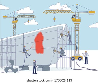 Concept Of Shipyard. People Do Shipbuilding. Team Of Workers Repair Big Ship Use Professional Equipment And Technologies. Engineer Controls Process. Cartoon Linear Outline Flat Vector Illustration