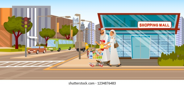 The Concept Shopping Mall downtown on the Road. Vector Illustration of Cartoon Happy Arab Family going to the grocery Store. Full food Shopping cart. Supermarket Building on the Background of the City