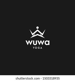 The concept of a simple logo from the letters 'W and W' in combination with yoga symbols