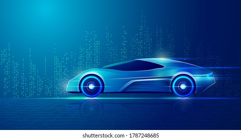 concept of smart car technology or driverless vehicle