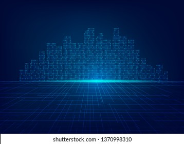 concept of smart city or internet of things, shape of building combined with binary code