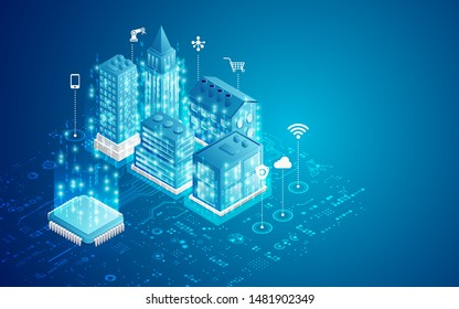 concept of smart city, microchip with buildings and electronic pattern in isometric