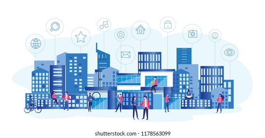 Concept Smart city for web page, banner, presentation, social media. Intelligent building isometric vector, Smart building, building on smartphone, 3d, system of intelligent, Big Data, Analytics