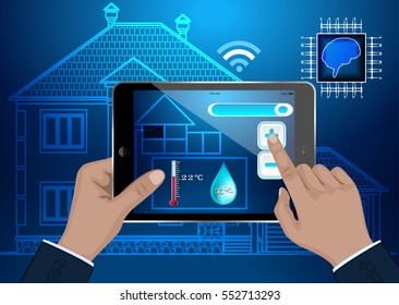 The concept of the smart home. The control of temperature and humidity remotely via computer tablet. Vector illustration on blue background