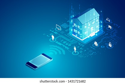 concept of smart home technology, mobile and house in isometric view with digital futuristic interface