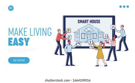 Concept Of Smart House Mobile App. Website Landing Page. Males And Females are Adjusting Smart Home Intelligence Technology On Huge Tablet. Cartoon Linear Outline Flat Vector Illustration
