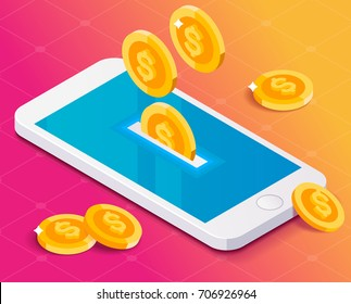 Concept smartphone and money coins. Isometric style. Blueprint background.